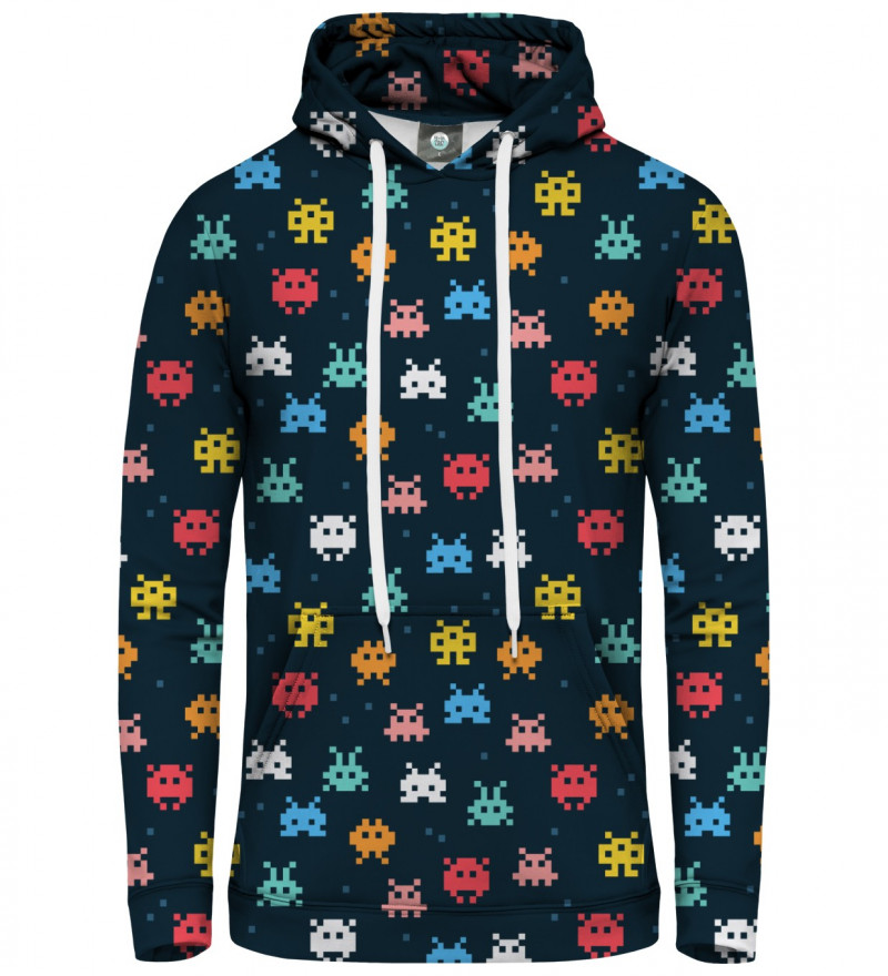 women hoodie with space invaders motive