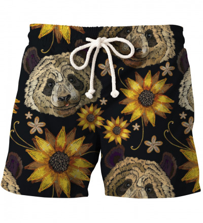 shorts with pandas and sunflowers motive