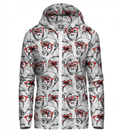 zip up hoodie with monkeys motive