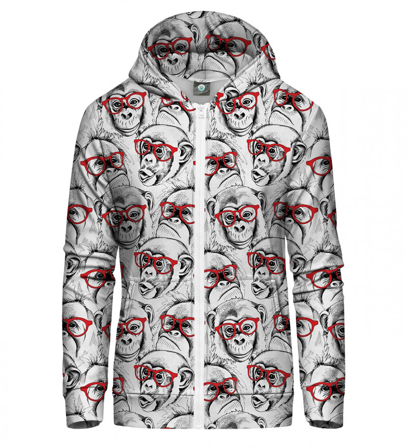 zip up hoodie with monkeys motive