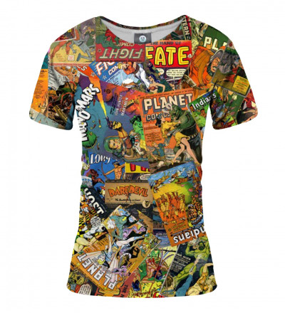 women tshirt with comics motive