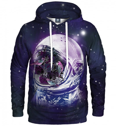 hoodie with birds in space motive