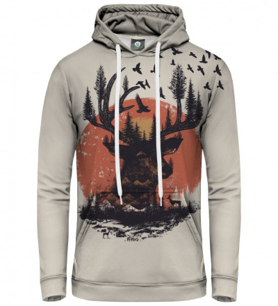hoodie with sun and deer motive