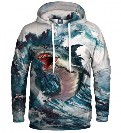 bluza z kapturem z motywem rekina