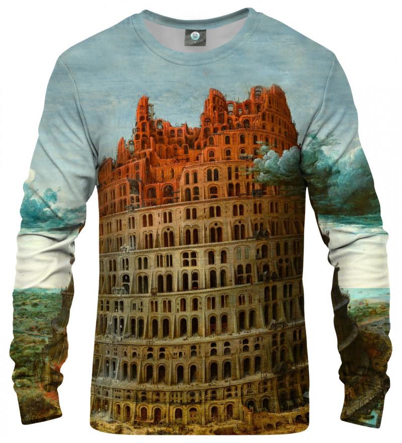 sweatshirt with tower of babel motive