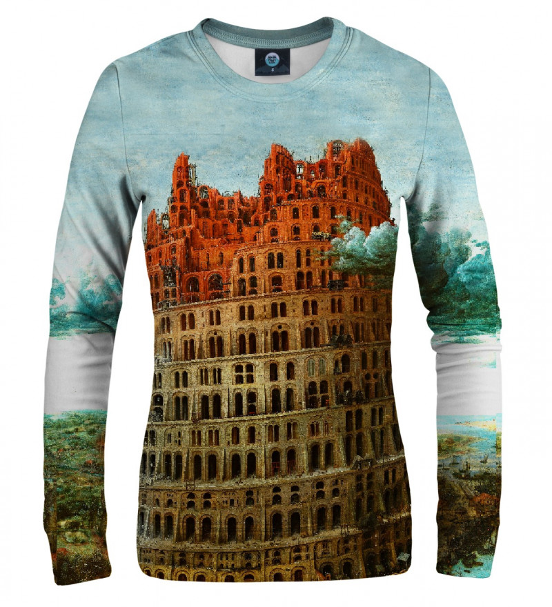sweatshirt with tower of babel motive