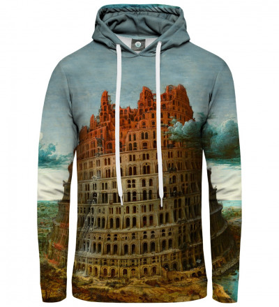 hoodie with tower of babel motive