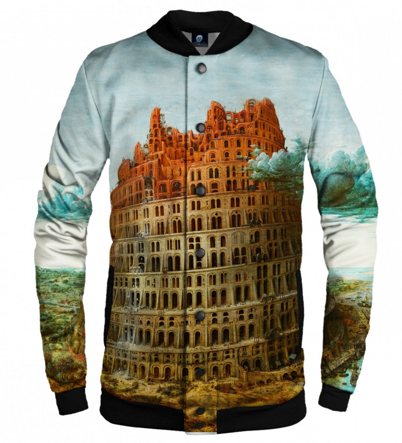 baseball jacket with tower of babel motive