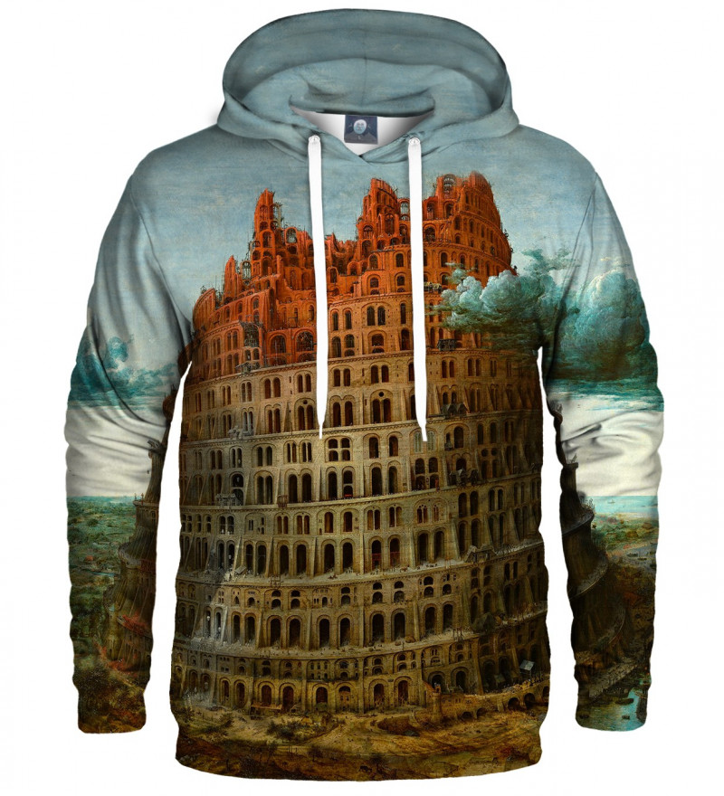 bluza z kapturem z motywem wieży babel