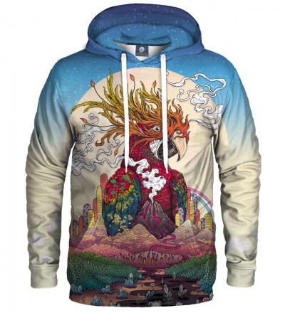 bluza z kapturem z motywem papugi