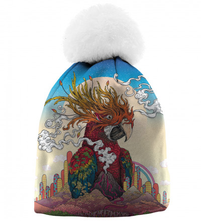 beanie with parrot motive