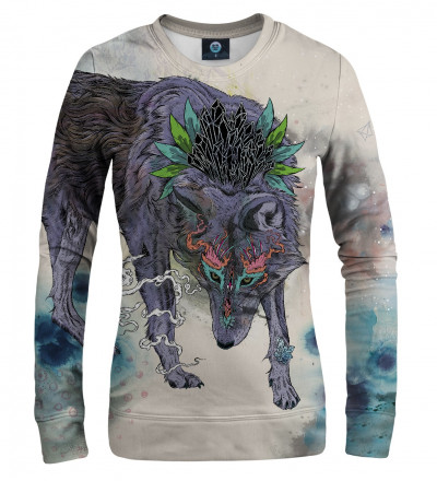 sweatshirt with wolf motive