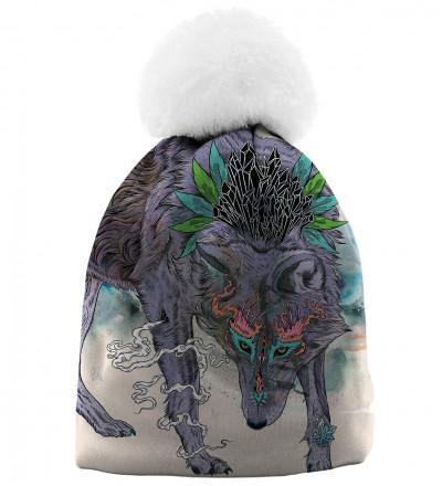 czapka z motywem wilka