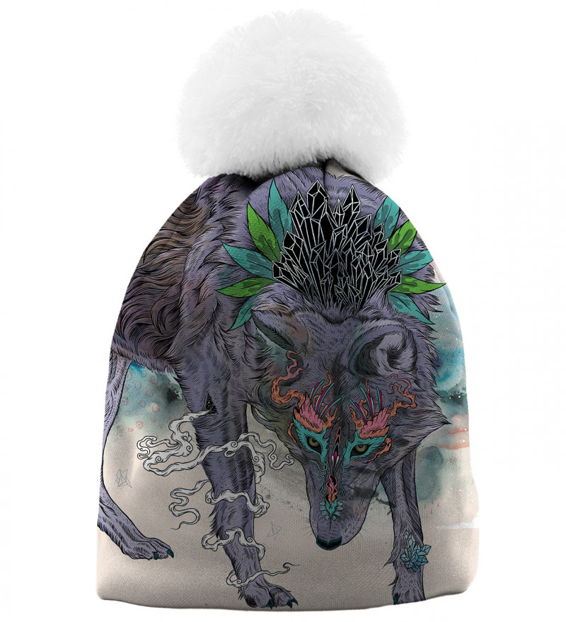 beanie with wolf motive