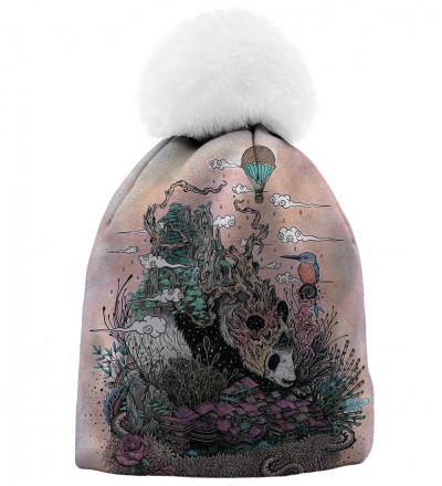 czapka z motywem śpiącej pandy