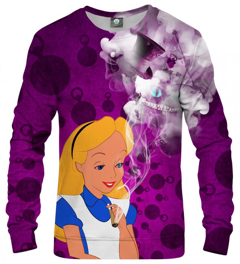sweatshirt with alice in weedland motive