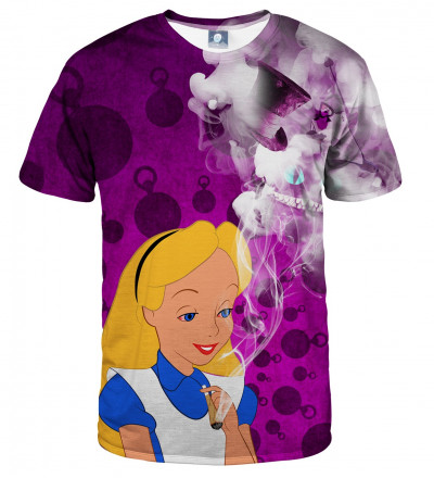 tshirt with alice in weedland motive