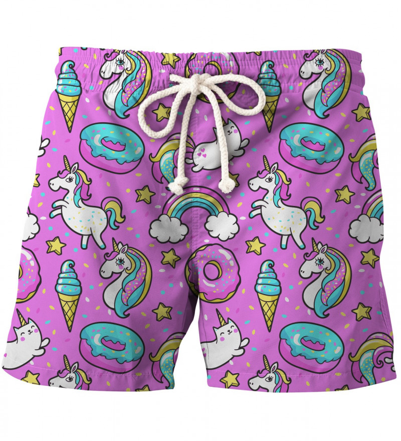 cute shorts with unicorns and donuts motive