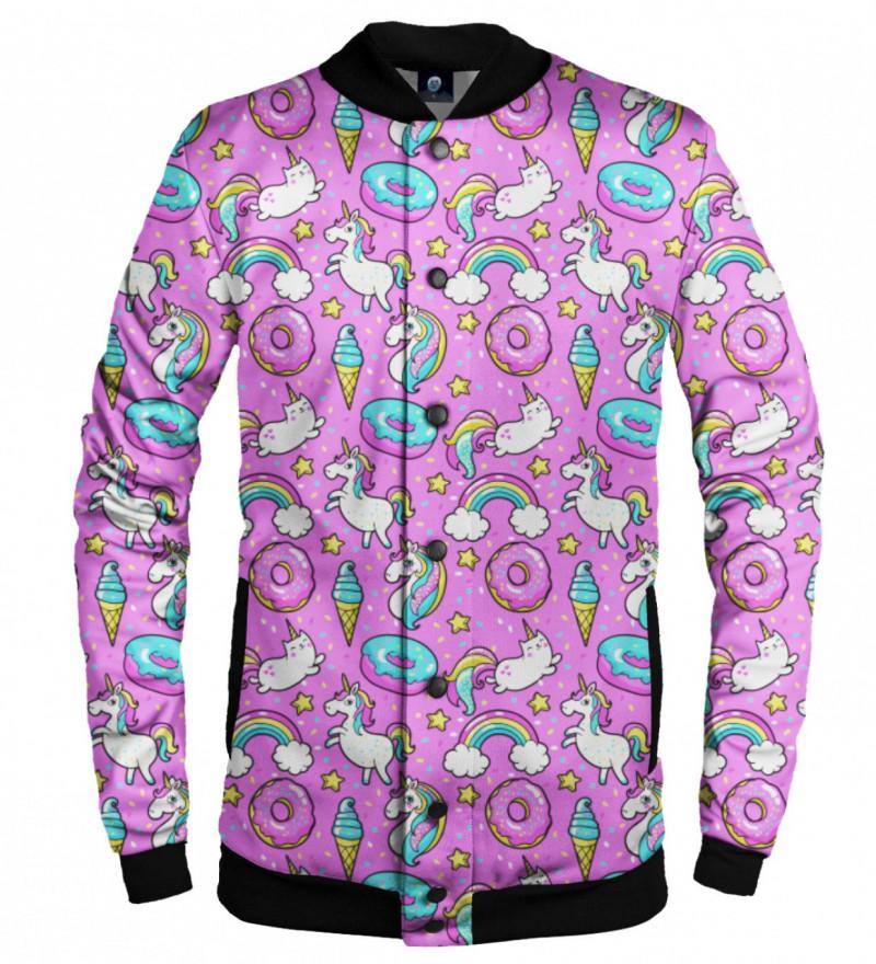 baseball jacket with unicorns and donuts motive