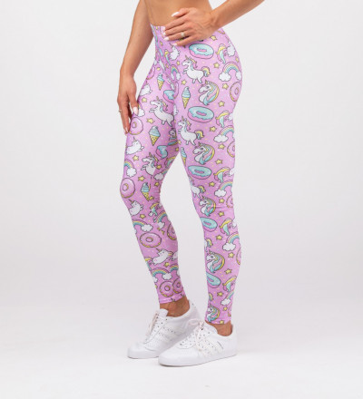pink leggins with unicorns motive