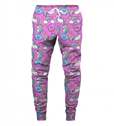 sweatpants with unicorns motive