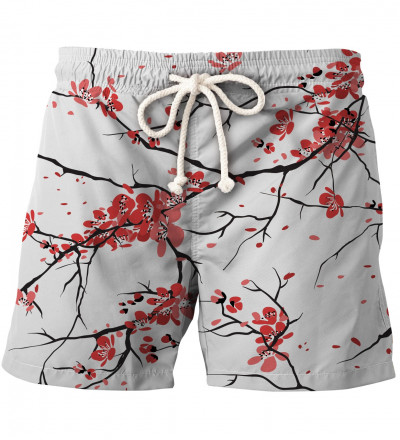 shorts with cherry blossom motive