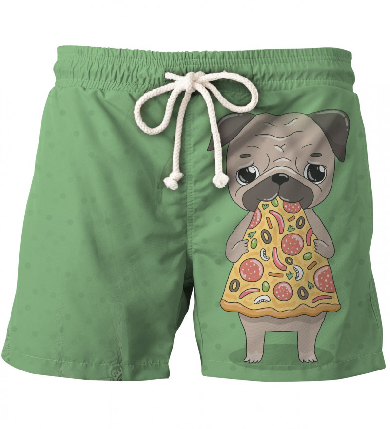 shorts with dog and pizza motive