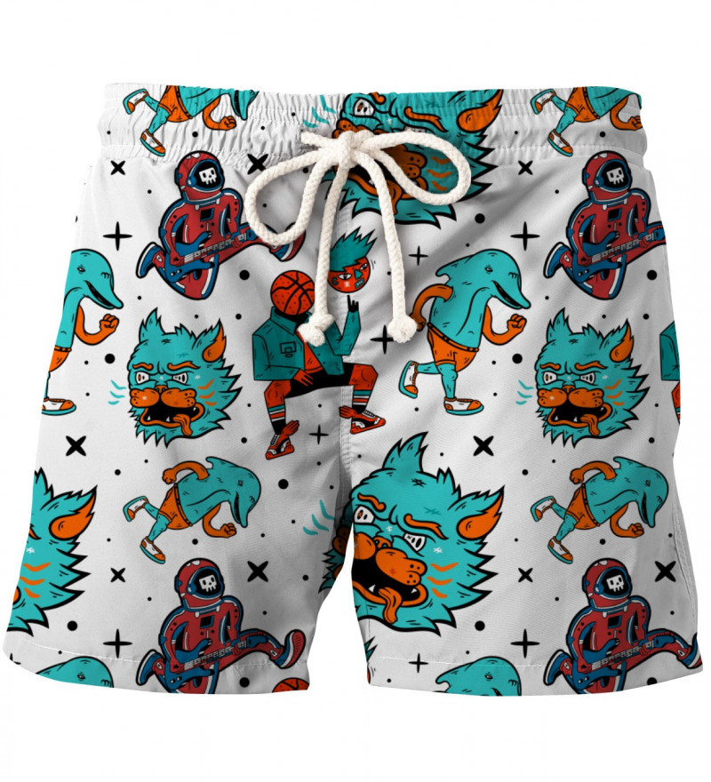 shorts with weird faces motive