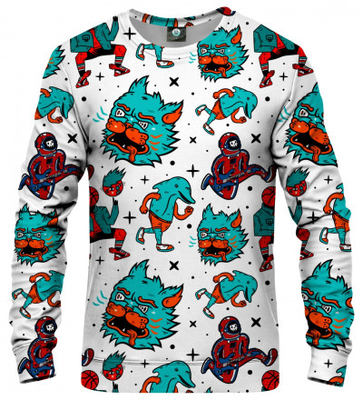 sweatshirt with weird monsters motive