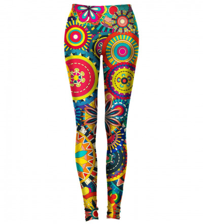 leggings with colorful flowers motive