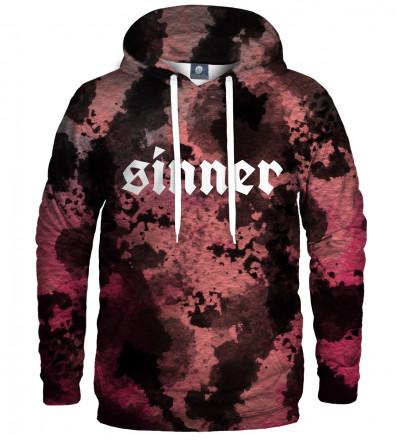 bluza  kapturem tie dye z napisem sinner