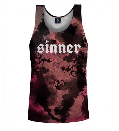 top tie dye z napisem sinner