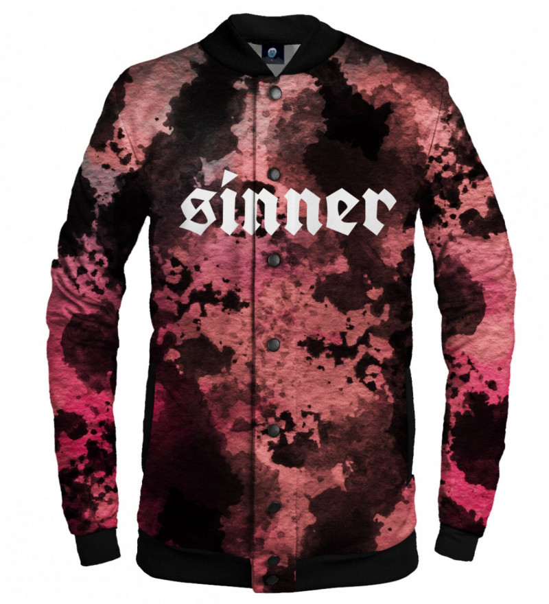 tie dye baseball jacket with sinner inscription