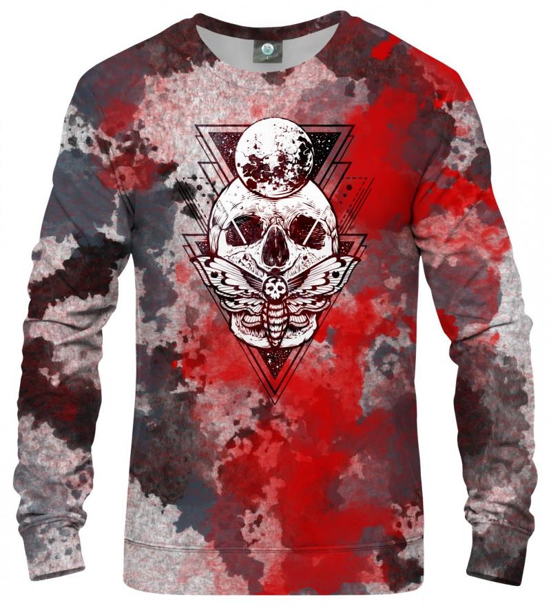 sweatshirt with moth and skull motive