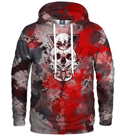 hoodie with moth and skull motive