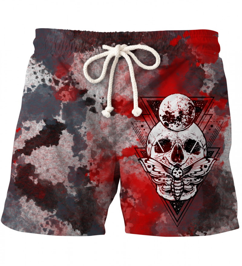 shorts with moth and skull motive