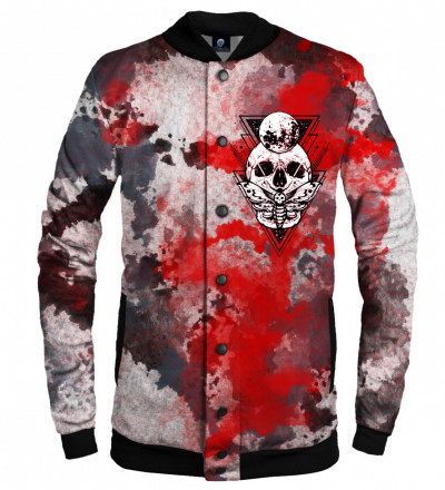 baseball jacket with moth and skull motive