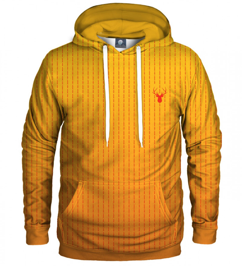 yellow hoodie with fk you inscription