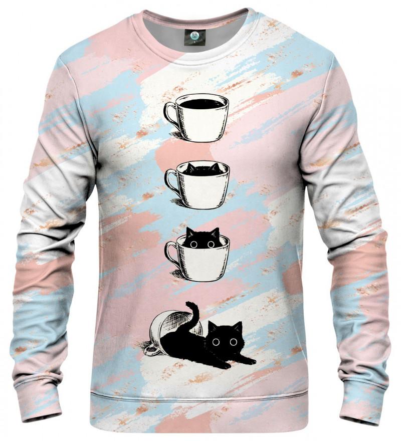 bluza z motywem kota i kawy