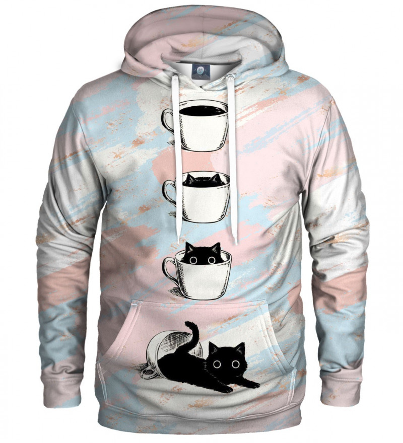 hoodie with cat and coffee motive