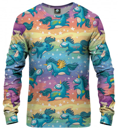 sweatshirt with unicorns motive