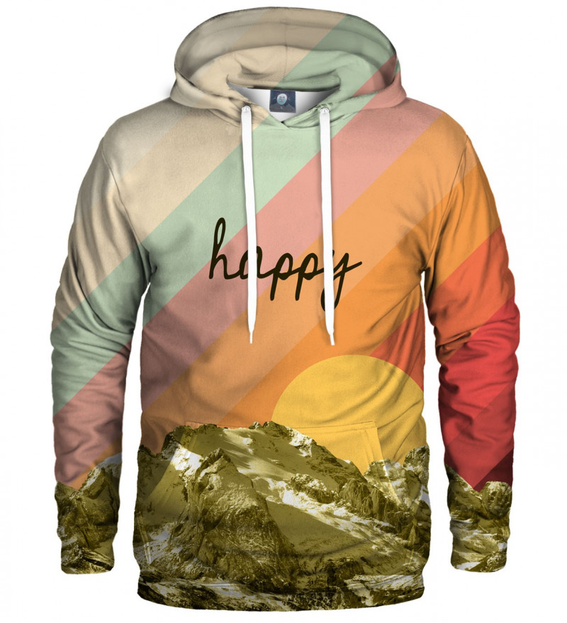 colorful hoodie with happy inscription