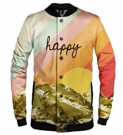 colorful baseball jacet with happy inscription