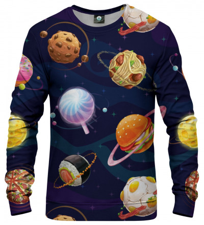 sweatshirt with space and food motive