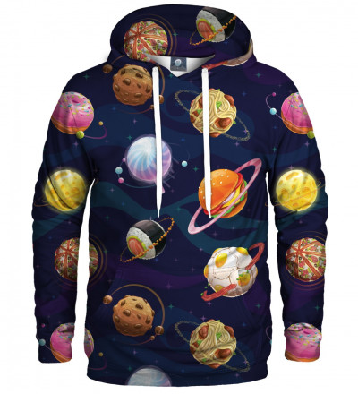 hoodie with cosmos and food motive