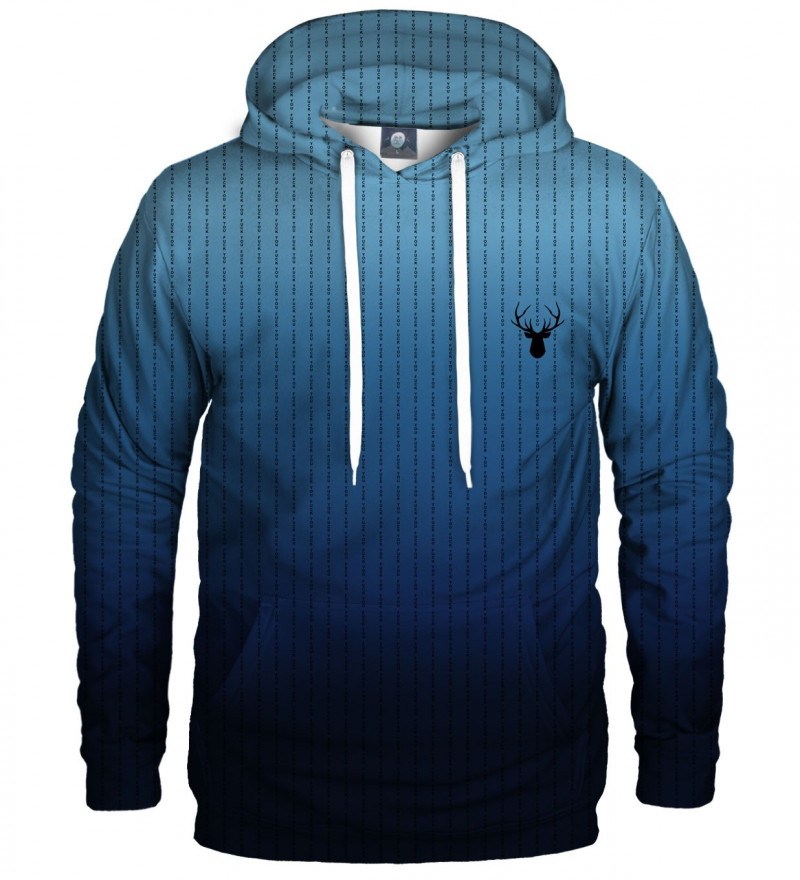 blue hoodie with fk you inscription