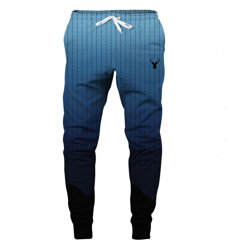 blue sweatpants with fk you inscription
