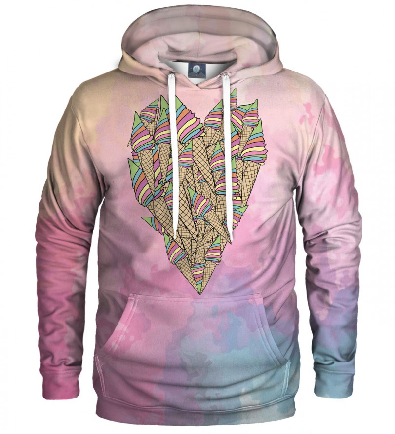 hoodie with ice cream heart motive