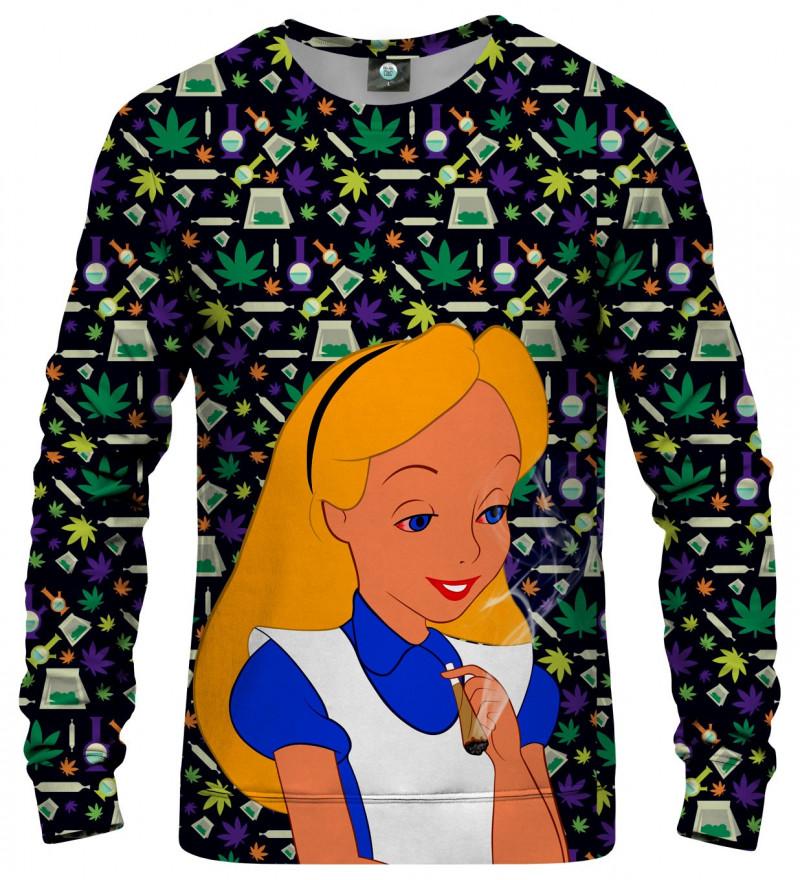 sweatshirt with weed alice motive