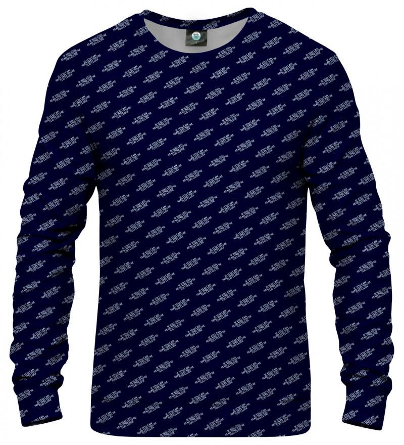 navy sweatshirt with inscription